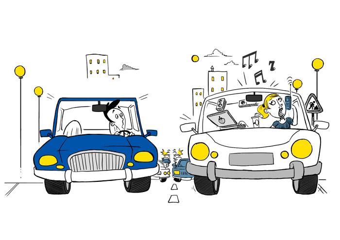 La Fugitiva: no tiene desperdicio, dándole a la vez al móvil y al ordenador, y con la radio puesta a todo volumen. Debe conducir muy bien, pues todavía no ha chocado con nada ni nadie.