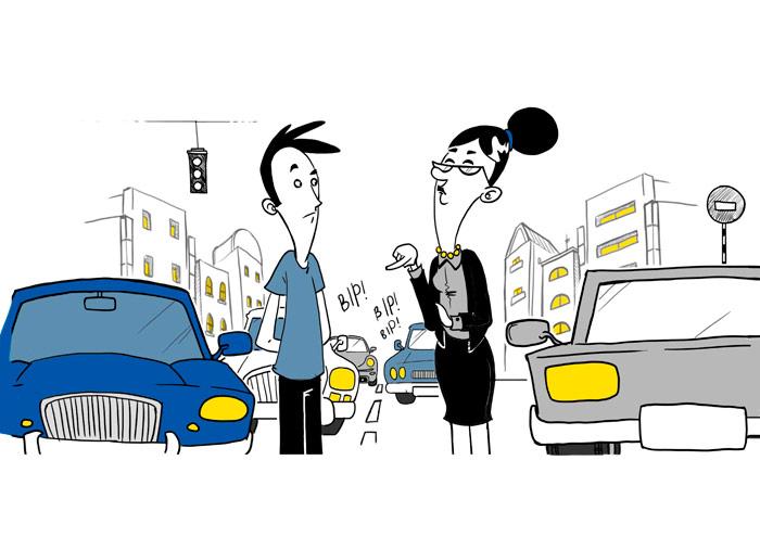 """La Profesora: el chico del coche azul no gana para disgustos; después del Filósofo, ahora le ha parado la """"profe"""" (obstruyendo el tráfico; esa es muy buena) para indicarle cómo se hacen bien las cosas."""