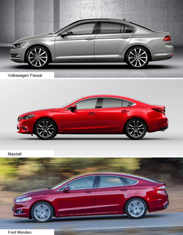 """El perfil lateral está prácticamente calcado: VW y Mazda todavía tienen un poco de """"dos volúmenes y medio""""; el Mondeo ya es un dos volúmenes muy perfilado. En función de la longitud, cambia el tratamiento del acristalamiento lateral: en el Passat (que es el más corto) el pilar C está limpio; en el Mazda, hay un falso tercer cristal, y en el Mondeo lo es de verdad, al tener el techo más tumbado; y a cambio, el cristal de la puerta no lleva una zona fija separada, sino que es único."""