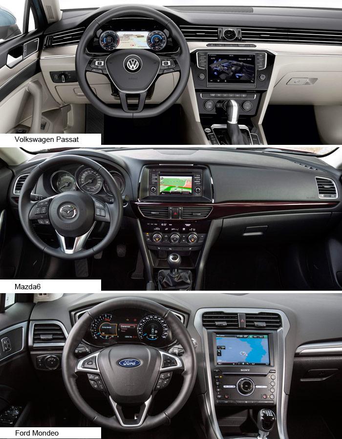 El salpicadero de VW ya no es el de siempre: salidas de aire integradas en una banda horizontal que refuerza (como en el frontal) la sensación de anchura, dos grandes pantallas, y un reloj analógico. En el Mazda todo está mucho más en vertical, concentrado alrededor del conductor, dejando un gran hueco diáfano (para el airbag) sobre la guantera. Y como siempre, el Ford es el más barroco. En todos ellos, la enorme cantidad de comandos obliga a repartirlos entre la puerta, luces a la izquierda del salpicadero, volante, palanca tras del mismo, y las zonas vertical y horizontal de la consola. Y aún quedan algunos para la consola del techo