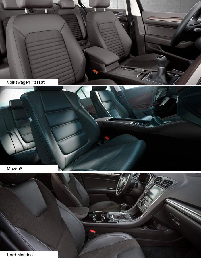 El diseño de los asientos en VW y Mazda está un poco en la línea de los clásicos Recaro, mientras que los del Mondeo son más tirando a butacones; en cuanto a la consola central, la del Mazda es muy alta y de línea continua, la del Passat bastante baja con un cajón posterior muy alto, y el Mondeo viene a quedar a medio camino.