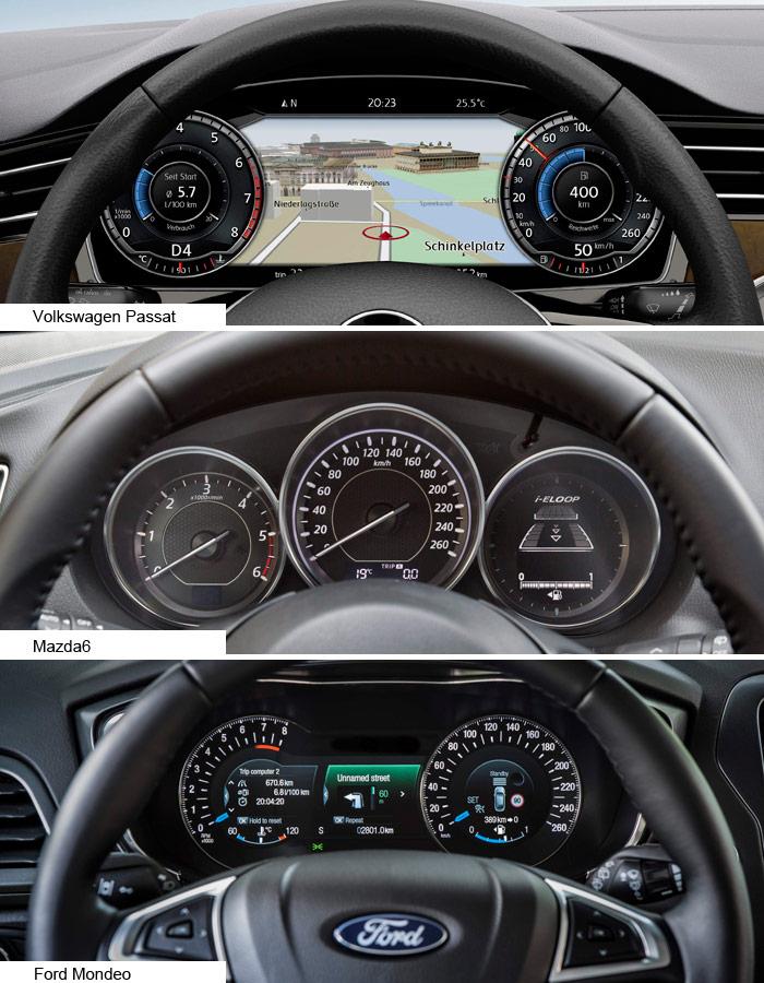 Se diría que el cuadro del Passat corresponde a un Ford, recargado de datos y lleno de colorines; el del Mazda, en cambio, parece el de los VW (o BMW) clásicos, todo en negro y muy funcional; y el del Ford es fiel a sí mismo, con un aspecto muy impactante, casi agobiante.