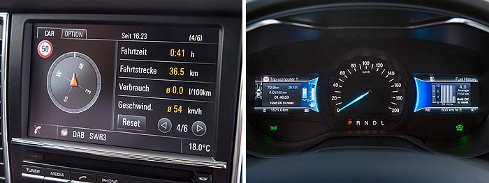 Naturalmente, en el Porsche no podía faltar una pantalla, y de buen tamaño, aunque situada en el centro de la consola frontal; por el contrario, en Ford (que también tiene pantalla central, como se ve en la pareja de fotos anteriores), el instrumento circular está flanqueado por dos pequeñas pantallas. La diferencia de facilidad de lectura, comparando con la de Porsche, es más que notable.