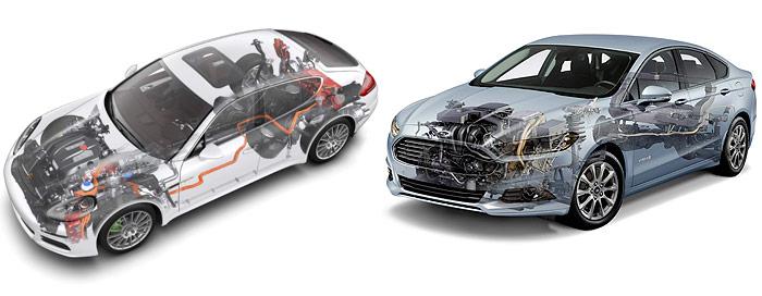 En ambos casos los componentes de la impulsión ocupan los dos extremos del automóvil, resultando particularmente impactante el volumen y aparente complicación en el caso del Panamera. En el Mondeo de aprecia atrás, el conducto transversal para tomar aire del interior del habitáculo, a fin de refrigerar la batería (en el el Porsche es por líquido). Al tratarse de aire previamente climatizado, sirve tanto para enfriar como en casos límite calentar la batería, para mantenerla dentro de su zona óptima de temperatura.
