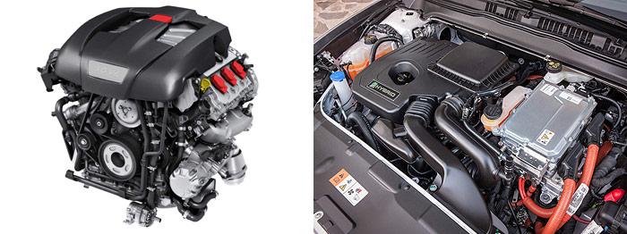 El motor 3.0 V6 del Porsche, con su doble juego de correas, siendo el más próximo al motor el que arrastra el compresor volumétrico situado bajo la carcasa de plástico. En el caso del Mondeo, en el vano motor no se podría añadir prácticamente nada a lo ya existente; casi cualquier intervención que no sea la reposición de líquidos debe exigir una capacitación y herramental especiales.