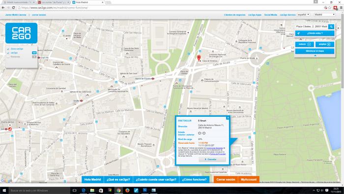 Car2Go en Madrid. 350 smart eléctricos a 0,19 € el minuto