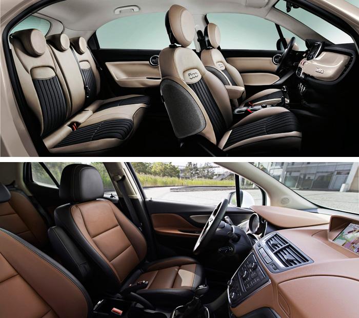 """El diseño del 500-X, centrado en motivos circulares (manijas de puerta, reposacabezas dudosamente ergonómicos), tiene una componente un tanto """"naïf"""" o desenfadada, mientras que el Mokka responde a sus orígenes teutones, con un planteamiento de coche """"serio""""."""