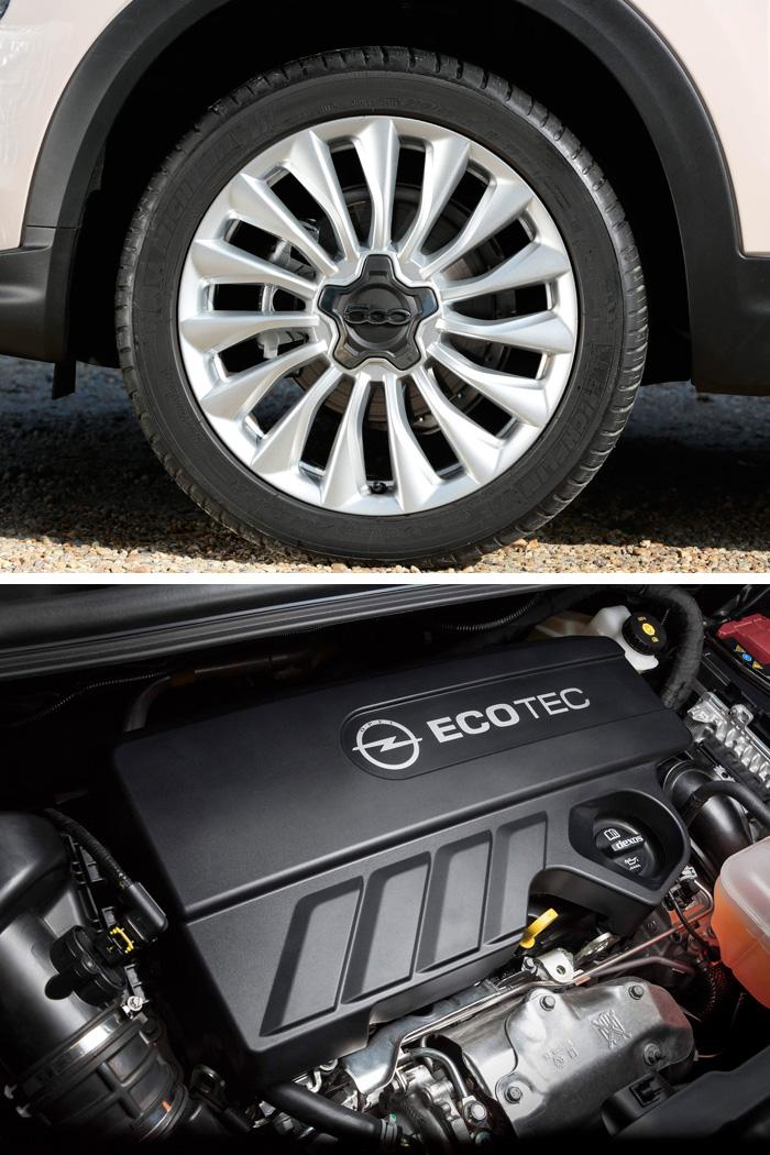 """Aunque ambos llevan llanta 18"""", en los respectivos acabados Lounge y Excellence, el neumático se acopla al estilo más rutero del Fiat con una medida más de sección y dos menos de perfil, además de ser de un tipo más (incluso exageradamente) deportivo. Por su parte, el motor del Opel acumula un máximo de tecnología, aunque en este caso le toca luchar con una aerodinámica claramente más desfavorable."""