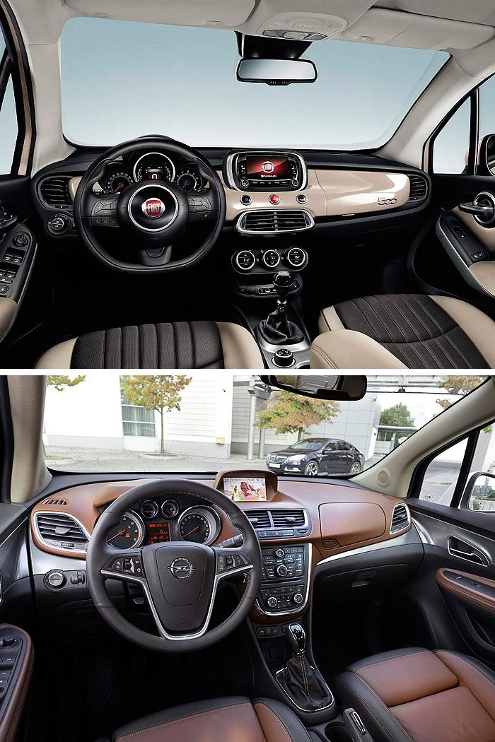 Y otra vez tenemos la contraposición entre el diseño circular u ovalado que prima en el 500-X, y el de estilo más anguloso que Opel ha elegido para su Mokka.