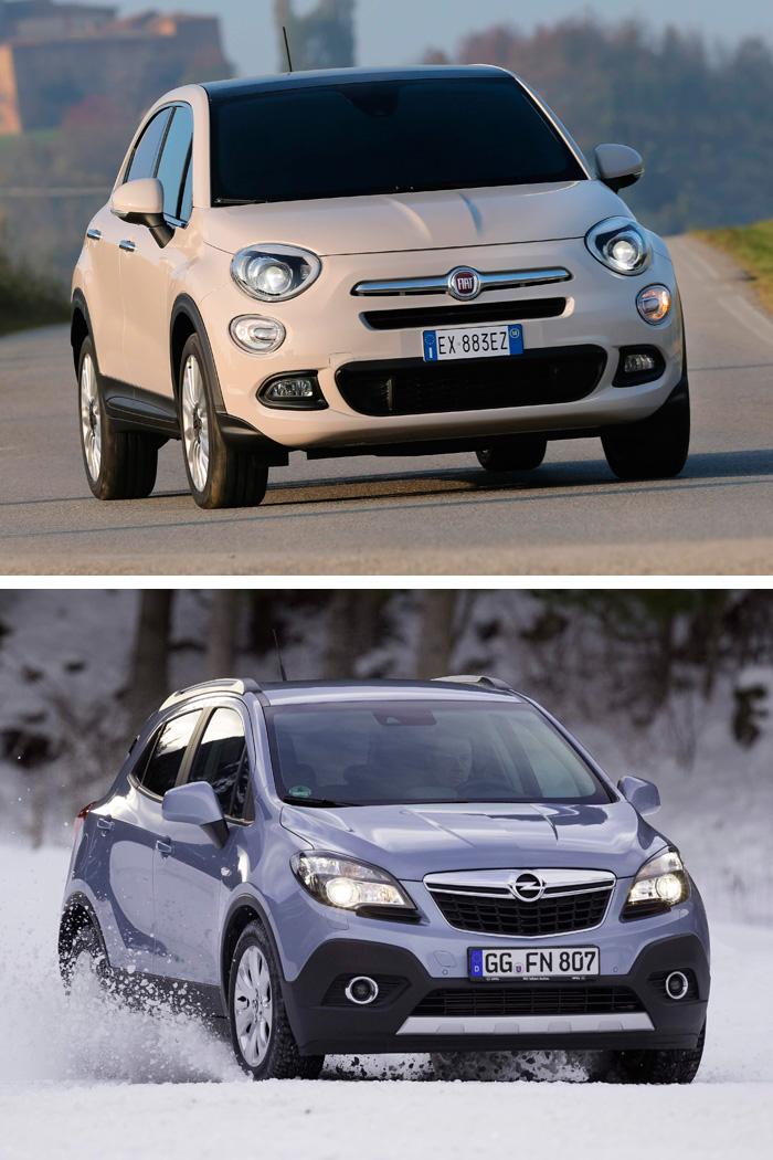 """En vista frontal, el 500-X mantiene cierta similitud con el pequeño segmento A del cual deriva su denominación (y poco más); mientras que el Mokka es inconfundiblemente Opel, si bien sus faros no tienen tan claramente marcado como en otros el diseño de """"ojo de águila""""."""