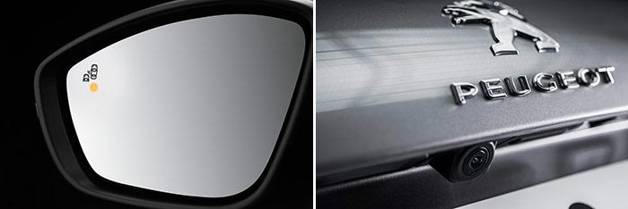 Dos detalles de las ayudas electrónicas a la conducción: el avisador de ángulo muerto incorporado en el retrovisor (junto con advertencia acústica), y la cámara de visión trasera para ayudar al aparcamiento.