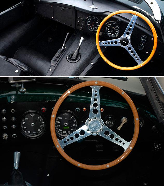 Detalles del puesto de conducción: la clásica empuñadura Jaguar de la palanca de cambios está diseñado para cogerla con la mano cerrada, y no por encima; su inclinación también lo indica así. La instrumentación de ambos es idéntica en número y función de los relojes pequeños (carburante, manómetro y temperatura del agua), pero éstos son distintos. Velocímetro y cuentarrevoluciones llevan la zona de uso más frecuente en la parte inferior, de peor visibilidad. El volante Jaguar -a diferencia de los clásicos Nardi de madera italiano y Moto-Lita de cuero británico- lleva un radio vertical arriba en posición de línea recta; uno de ellos, sin duda dedicado a la competición de circuito, ha eliminado el pulsador de la bocina. A cambio, la guantera lleva una tapa que de origen (véase foto 6) no viene.