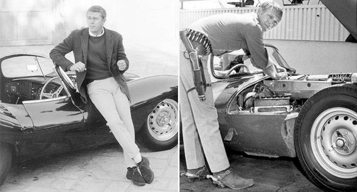 """Dos facetas de McQueen: muy """"cool"""" y distendido, vestido casi de invierno (para el clima de Hollywoood), y en plan de """"armas tomar"""" (literalmente) mientra toquitea los carburadores del XK-SS, por encima de la placa protectora anti-piedras (era un """"tuercas""""). Y nada de medias tintas: los neumáticos son Dunlop Racing CR-5 (parece que """"street legal"""" en California '57; ahora no lo son en ningún sitio). Y la munición de la canana no es la propia para la carabina Winchester aligerada y recortada (compartía munición corta con el revólver Colt 45); claro que, tal vez, su amigo el """"manitas"""" Von Dutch le había cambiado las tripas, convirtiéndola casi en un Rigby o Holland&Holland para cazar elefantes. La guantera ya lleva tapa; es una foto más reciente que la publicada al final."""