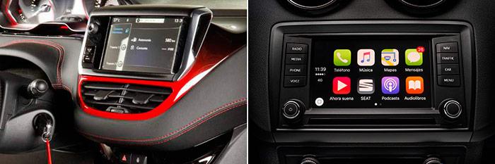 La pantalla del 208 es un claro añadido, aunque de tamaño generoso; la del Ibiza está integrada en la consola frontal, y aunque también tiene manejo parcialmente táctil, la botonería lateral permite una selección igual o más fácil (no exige un pulso tan firme).