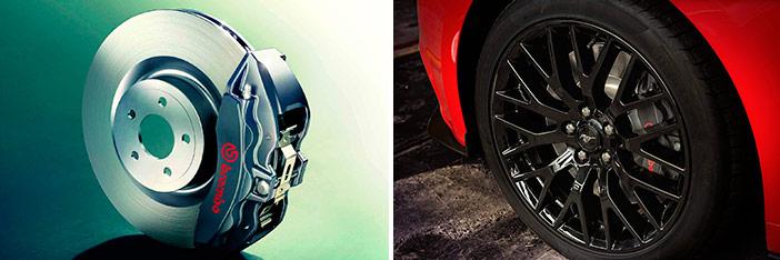 """Rueda delantera con llanta de 9""""x19"""" y neumático Pirelli P-Zero Nero; y disco de freno de dicha rueda, con 380 mm de diámetro y pinza Brembo de seis bombines."""