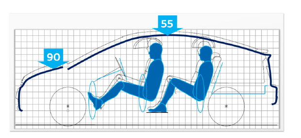 En trazo grueso, la silueta del Prius actual. En trazo fino, la del anterior.