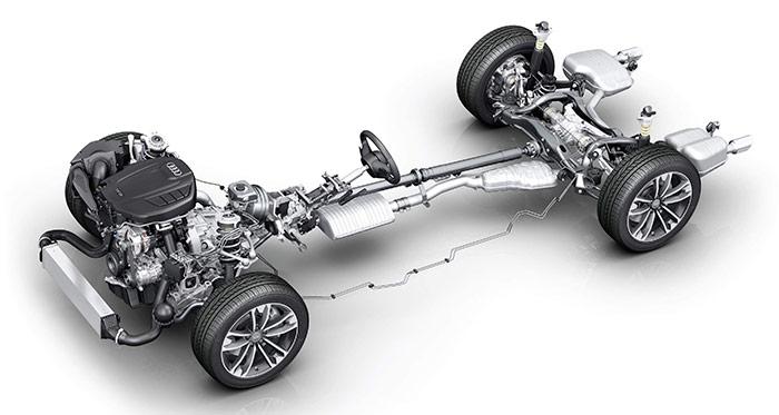 El bastidor del A4 allroad con el motor 2.0-TFSI en su nueva versión de 252 CV, cambio S-tronic y transmisión quattro Ultra, que es el modelo en el que ya mismo se está estrenando el nuevo tipo de transmisión.