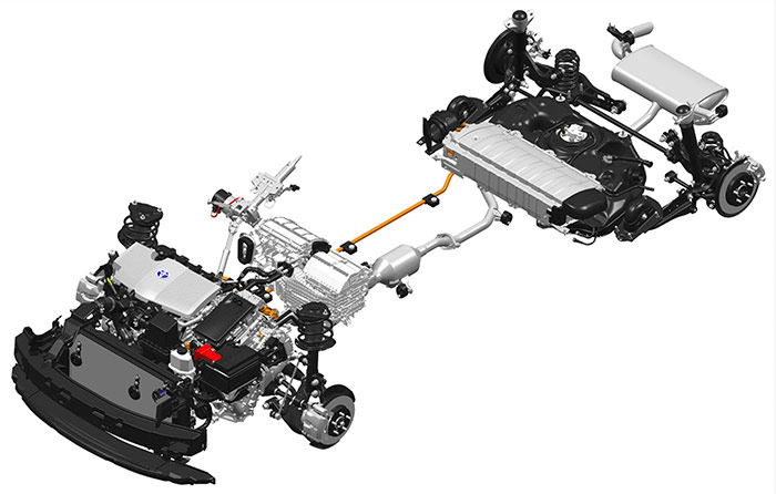 El conjunto de elementos de mecánica y bastidor resulta realmente complejo. La batería de tracción va ahora situada por delante del depósito de combustible.