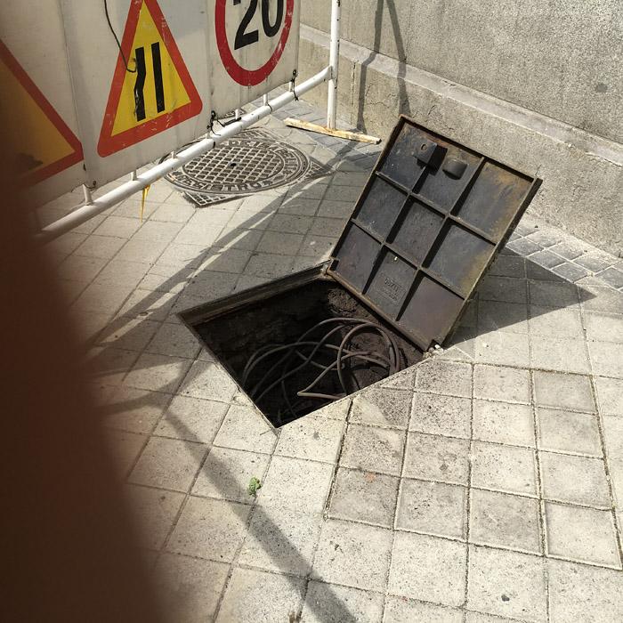 Explosión registro eléctrico. Madrid.