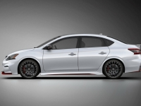 The Sentra NISMO Concept is built on the solid foundation of the latest generation Nissan Sentra, which offers an outstanding balance of premium style, innovative technology and fuel-efficient performance. The concept injects performance and design tuner elements into the mix. Among the Sentra NISMO Concept's many departures from a production 2014 Sentra are its race-inspired exterior with enhanced aerodynamic performance, NISMO-tuned suspension, steering and transmission and engaging motorsports-style cockpit.