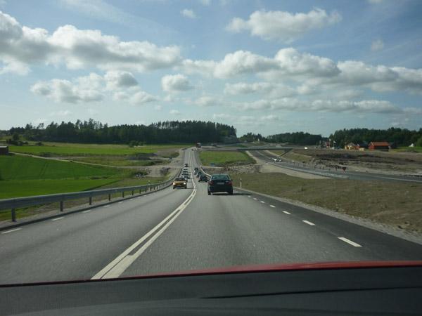Obras. Carretera E-6. Suecia. Cerca de Noruega.