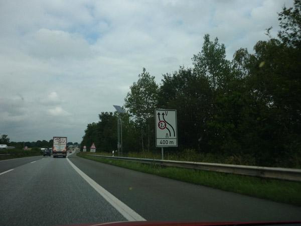 Cartel obras. Autopistas alemanas.