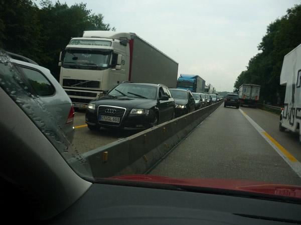 Alemania. Autopista. Obras. Atasco.