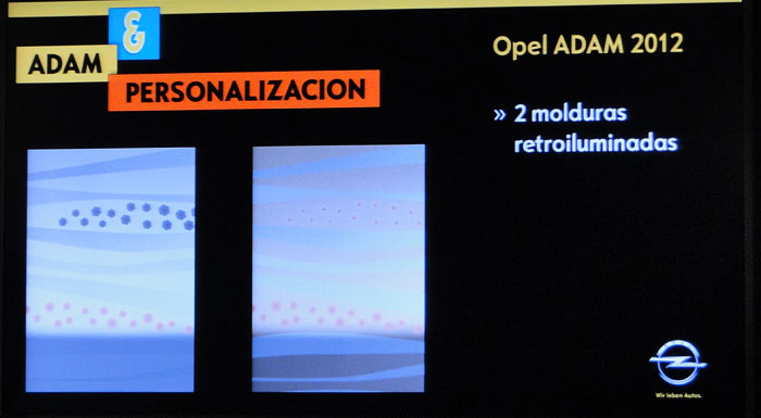 Opel ADAM. Molduras retroiluminadas