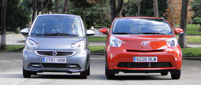 Comparativa: smart fortwo coupé 52 mhd pure / Toyota iQ 1.0 VVT-i