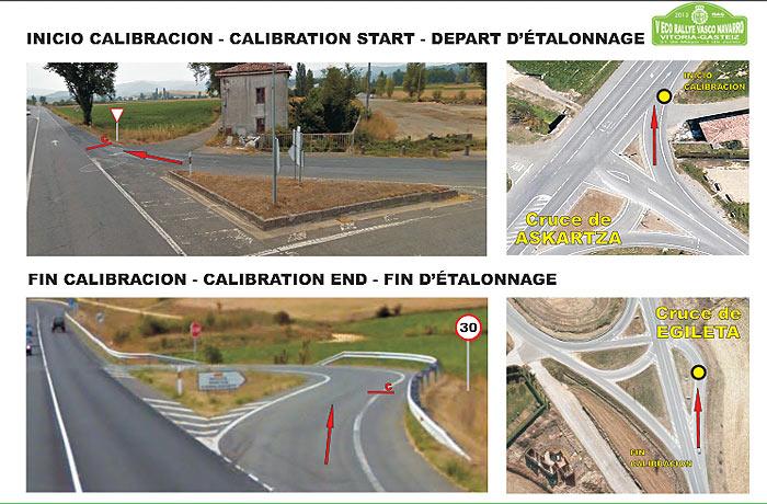 Fotos del punto inicial y final del tramo de  calibración