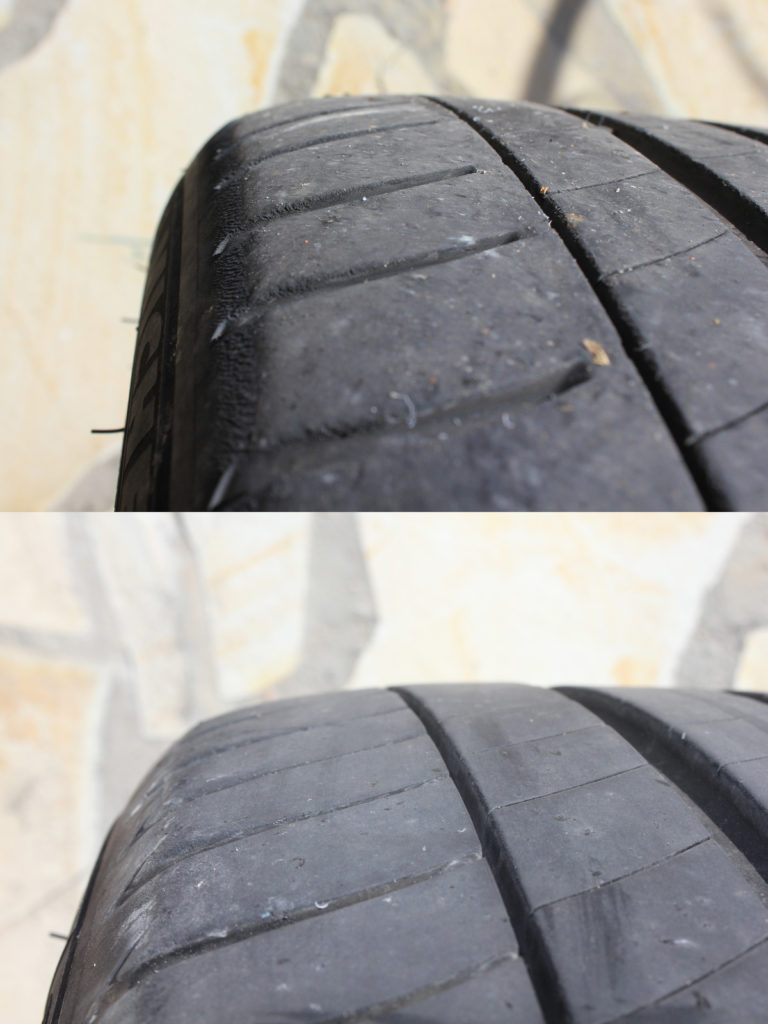 Desgaste del hombro del neumático. Arriba, rueda delantera. Abajo, rueda trasera