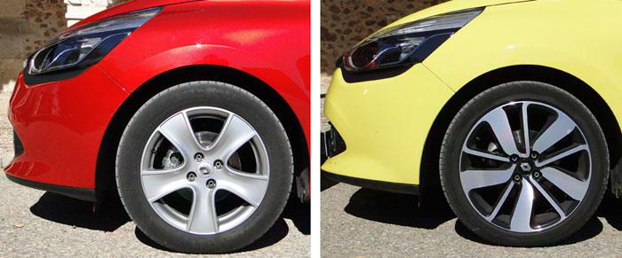 Antes de nada vamos a ver las condiciones de partida.  Renault Clio Tce:  kilómetros al inicio: 29 568  Neumáticos: 215/45 R17 / Presiones: 2,3 kg/cm2 delante – 2,2 km/cm2 detrás.  Renault Clio dCi:  kilómetros al inicio: 14 085  Neumáticos: 195/55 R16 Presiones: 2,2 kg/cm2 delante – 2,0 km/cm2 detrás. Continental EcontiEcoContact 5  Renault Clio Tce - dCi. Ruedas