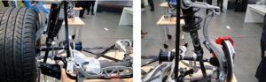 Porsche Macan. Comparación entre suspensión delantera izquierda con muelle heliocidad y delantera derecha con muelle neumático