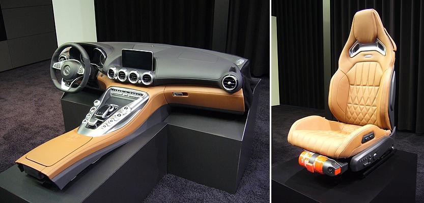 Antes de la aparición del Mercedes-AMG GT, recorrimos varios talleres. En el primero, vimos partes del interior del coche.