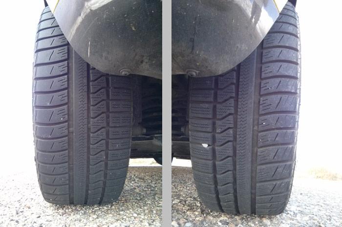 Neumático trasero izquierdo y derecho respectivamente. En este caso las dos fotografías se han tomado con la cámara mirando hacia delante.