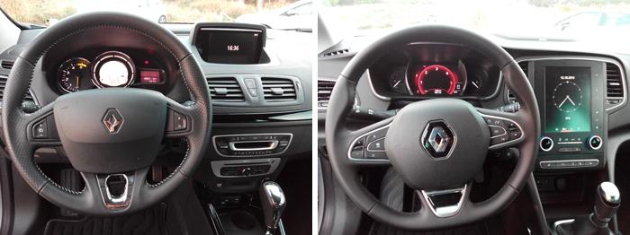 Renault Mégane III (izq.) y Renault Mégane IV (dcha.) . Volante y salpicadero