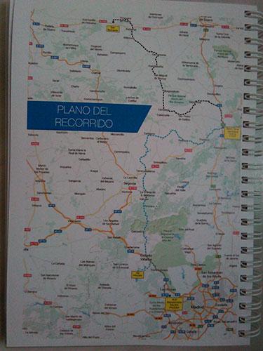Plano del recorrido, en punteado de dos colores para separar los tramos 1 y 4, de los 2 y 3. De los 505 km del recorrido total, tan sólo 36 fueron por autovía. Todo el resto, carreteras convencionales; como se ha visto en las fotos, de trazado y estado de conservación de lo más variado.