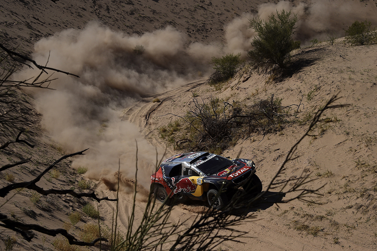 Carlos Sainz (ESP) from Team Peugeot Total performs during stage 09 of Rally Dakar 2016 around Belen, Argentina on January 12, 2016 // DPPI / Red Bull Content Pool // P-20160112-00126 // Usage for editorial use only // Please go to www.redbullcontentpool.com for further information. //