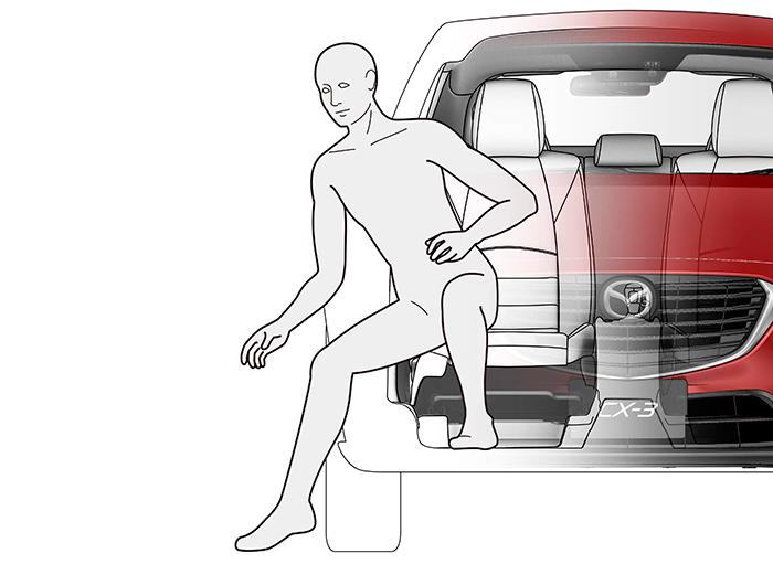 Ilustración de una de las ventajas de este tipo de carrocería: para usuarios de una estatura media, la accesibilidad de entrada y salida es perfecta, ya que no es preciso elevar ni bajar el centro de gravedad del cuerpo.