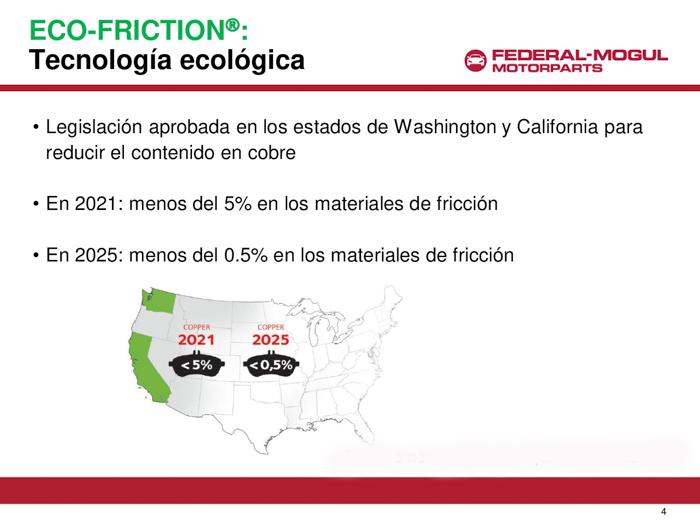 Legislación para 2021 y 2025 sobre máximo contenido en cobre en las pastillas de freno.