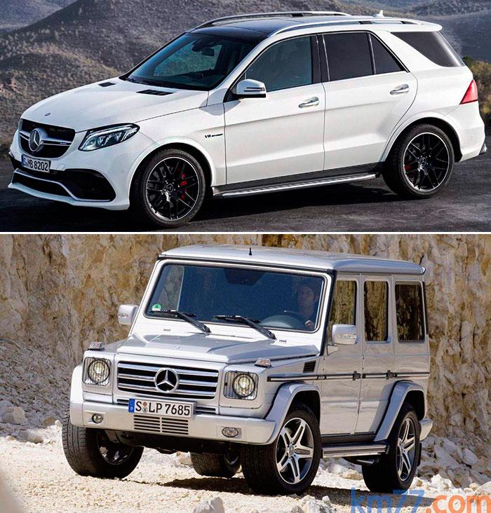"""La gama Mercedes nos muestra la diferencia, siempre a nivel """"top"""" (mecánica y acabado AMG en ambos casos), entre un SUV de lujo con buenas cualidades todo-terreno, y un auténtico todo-terreno radical. Se trata de un GLE (antes M) y un G, según la cambiante nomenclatura de la marca de la estrella. La diferencia estética va mucho más allá del simple tratamiento frontal. ¿Pero cuantos clientes de SUV se decidirían a cambiar su GLE por el todavía mucho más deportivo y aventurero GLE, aunque éste vaya por dentro casi igual de equipado? Pues ahí radica la diferencia."""