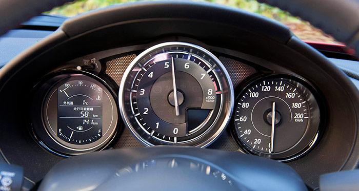 El cuentarrevoluciones del 1.5-G es bien explícito respecto al tipo de motor: la vertical pura (posición más visible de la aguja) está a 5.500 rpm; y cuando se aguanta sin cambiar, luego puede llegar al límite marcado de 7.500.