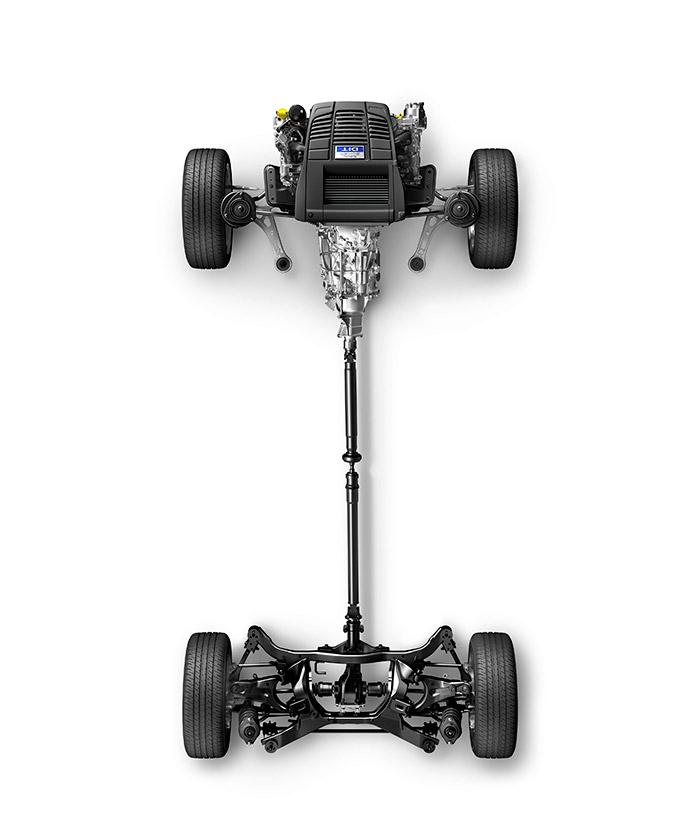 La estructura típica de Subaru es ideal para la tracción integral: motor delantero boxer (corto y con centro de gravedad muy bajo) en posición longitudinal, para enviar directamente la impulsión hacia el tren posterior.