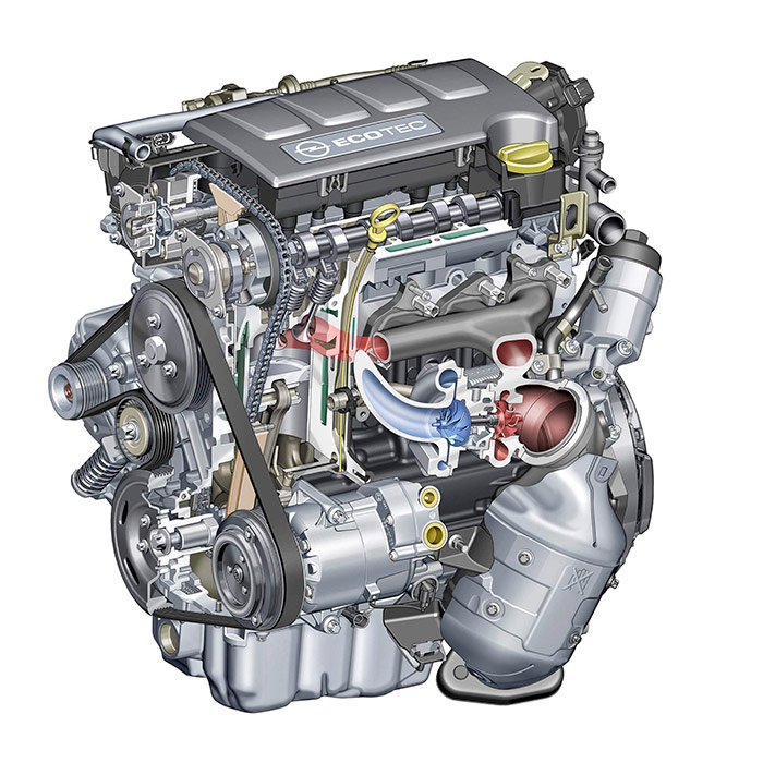 En esta sección del motor hay gato encerrado, porque se observa que los cilindros van encamisados, como en la moderna versión del 1.4-T Ecotec con bloque de aluminio que ya probamos en el Astra, con unas cotas, cilindrada y datos de rendimiento ligeramente distintos. Por lo demás, ambos motores son muy similares, y es probable que en Opel (Alemania) se hayan confundido y en la web han puesto un grabado de la otra versión.