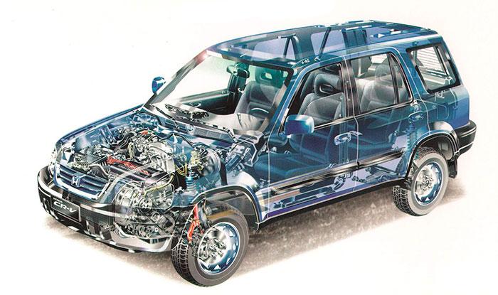 Por su parte, el CR-V aparecido en 1995 (aquí en versión de sólo tracción delantera) llevaba una carrocería de diseño pesado y muy voluminoso, con una amplia capacidad interior.
