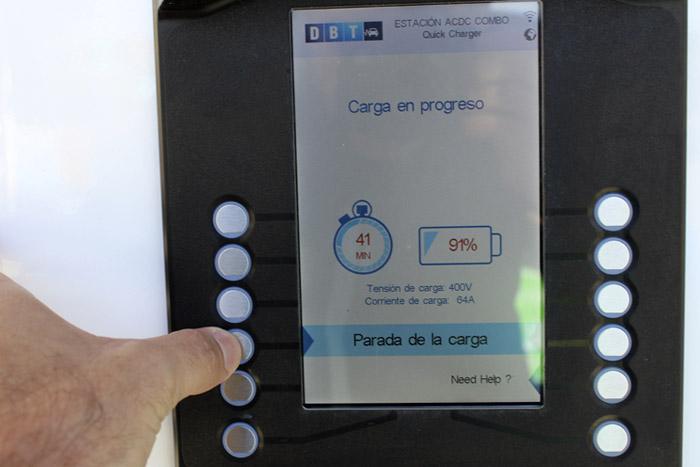 Cargador de Ibil en Palencia. Detener la carga.