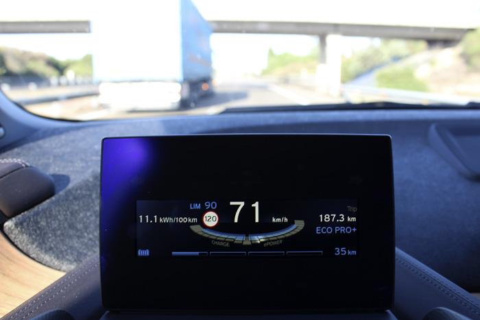 BMW i3 94 Ah Vitoria - Palencia. Velocidad. Consumo instantáneo