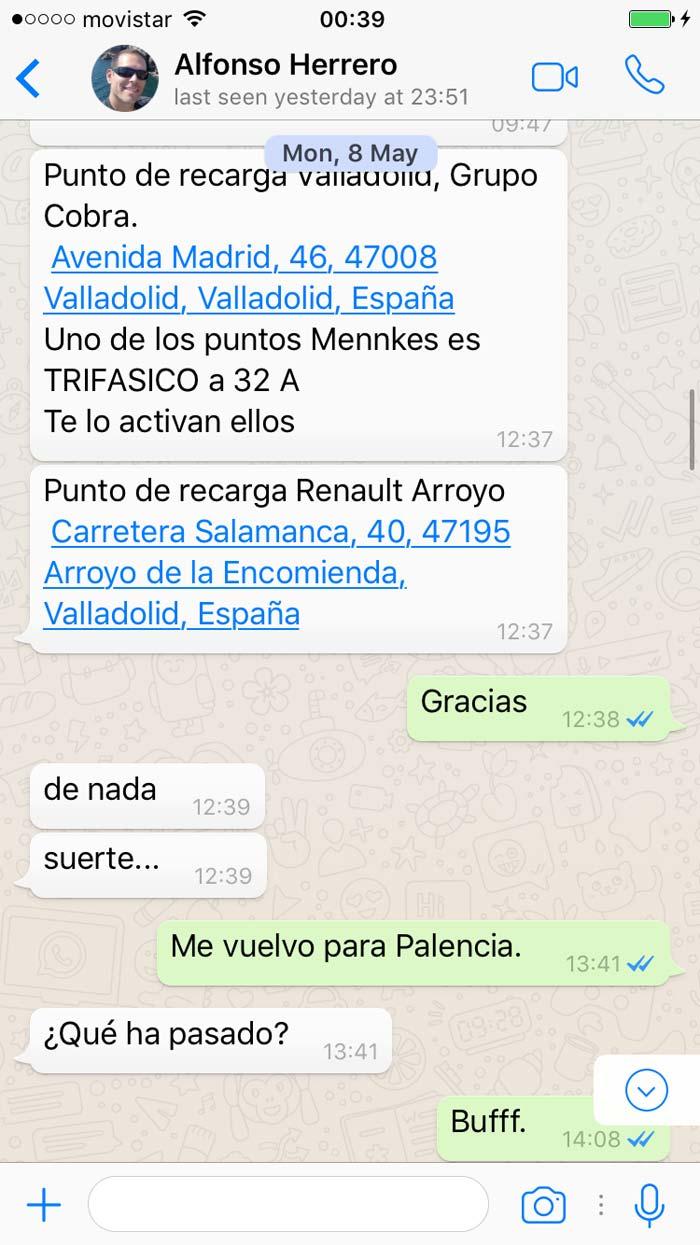 Whatsapp. Carga rápida Valladolid.