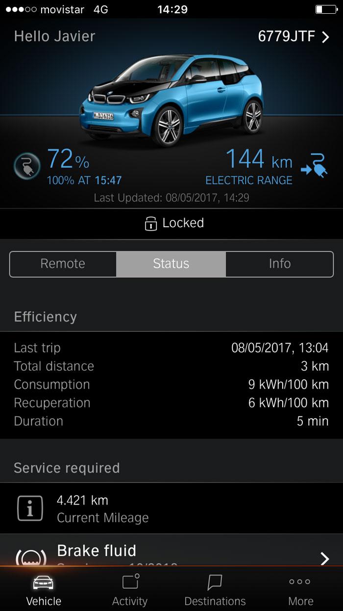 BMW i3 94 Ah App. coche eléctrico. Carga 72%