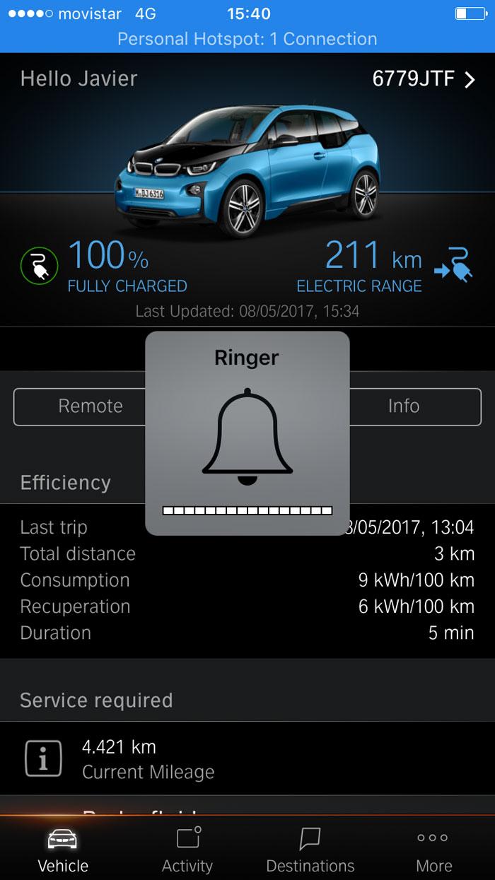 BMW i3 94 Ah App. coche eléctrico. Carga 100%